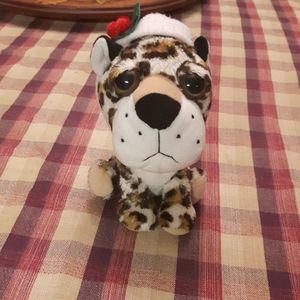 Christmas cheetah leopard Santa hat ornament bear